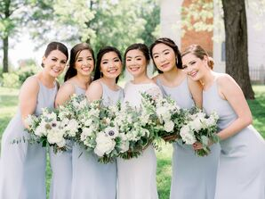 Bridesmaids in Blue Dresses at Wedding in Fayette, Missouri