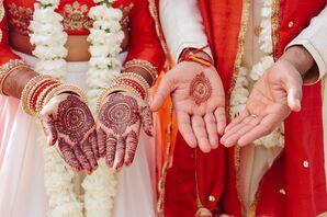 Wedding Henna on Traditional Indian Couple