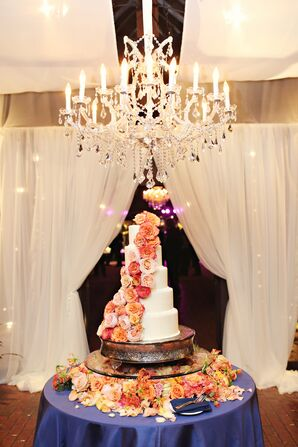 Cascading Orange Rose Wedding Cake