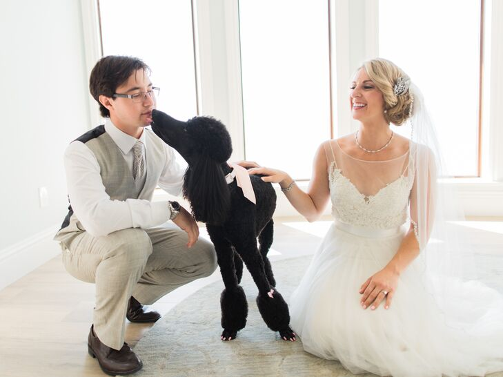 Katrina's flower girl was the couple's standard black poodle, Ella. She was given to Katrina by Frank on their first Valentine's Day together.