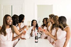 Pink Champagne Toast with the Wedding Party
