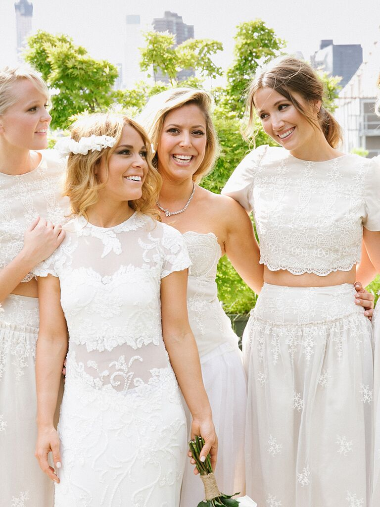 Elie Saab wedding gown with sheer panel details and crop top bridesmaid outfits