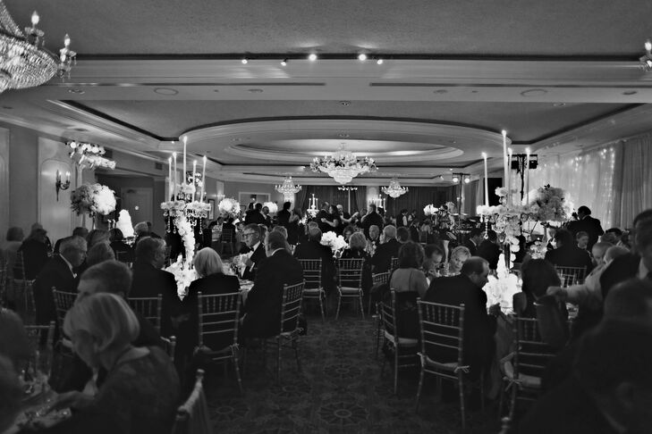 """The reception was held in the ballroom at Overbrook Golf Club. """"The room where I got ready with my bridesmaids is the same room where my 16th-birthday party was held, and the ballroom our reception was held in is the same room where my parents had their wedding reception 37 years ago,"""" Kieran says."""