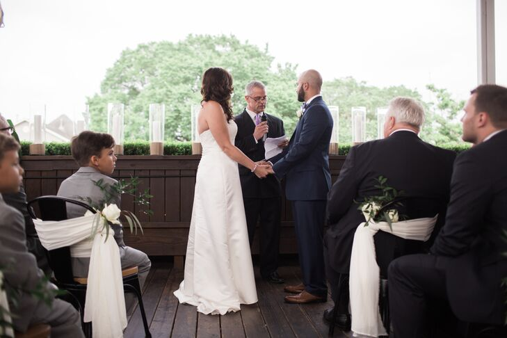 Couple with Officiant at B&B Butchers in Houston, Texas