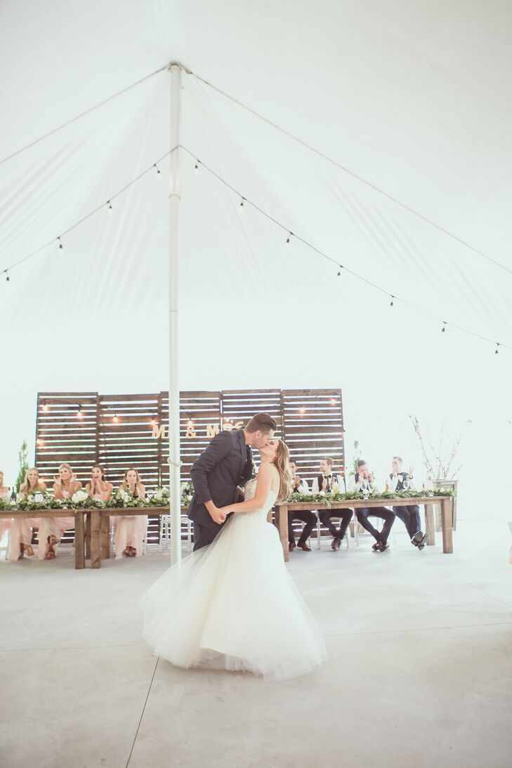 """The newlyweds danced to """"Bloom"""" by the Paper Kites. """"I can't hear it without crying now,"""" Kelly-Ann says."""