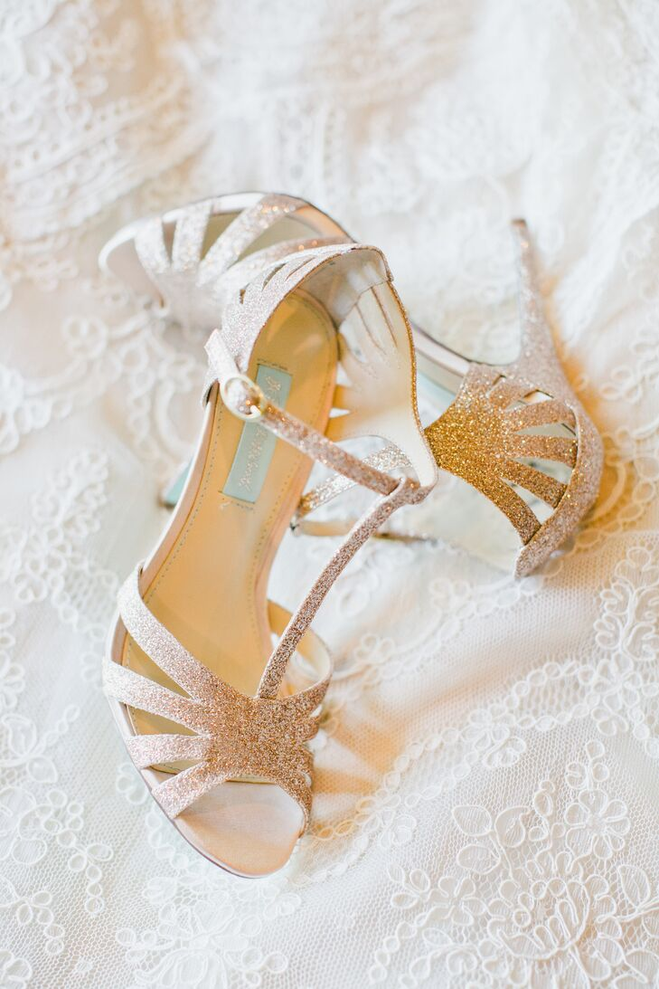 Marisa's nude-colored shoes shimmed with sparkles, designed by Betsey Johnson. The high heels added a glamorous touch to the classic vintage wedding dress accented in lace.