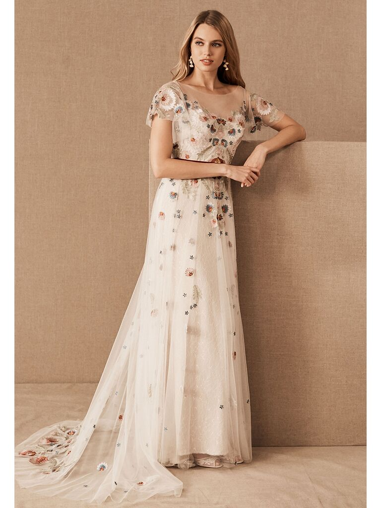 BHLDN A-line dress with sheer overlay with colored embroidery