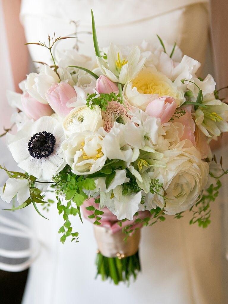 White And Blush Wedding Bouquet With Tulips Anemones Peonies Ranunculus Lisanthuses