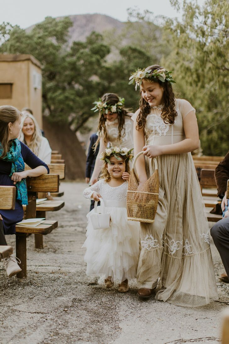 Flower Girls with Greenery Crowns at Big Bend National Park Wedding