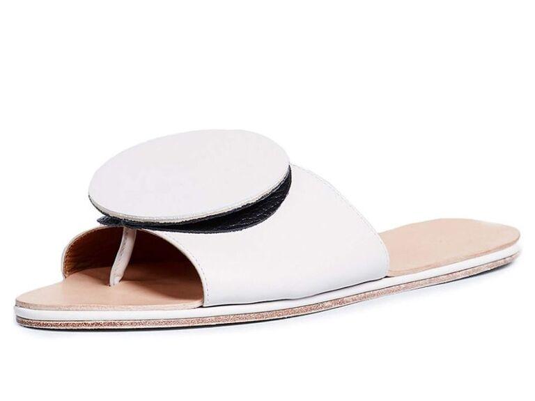 White slide sandals beach wedding shoes