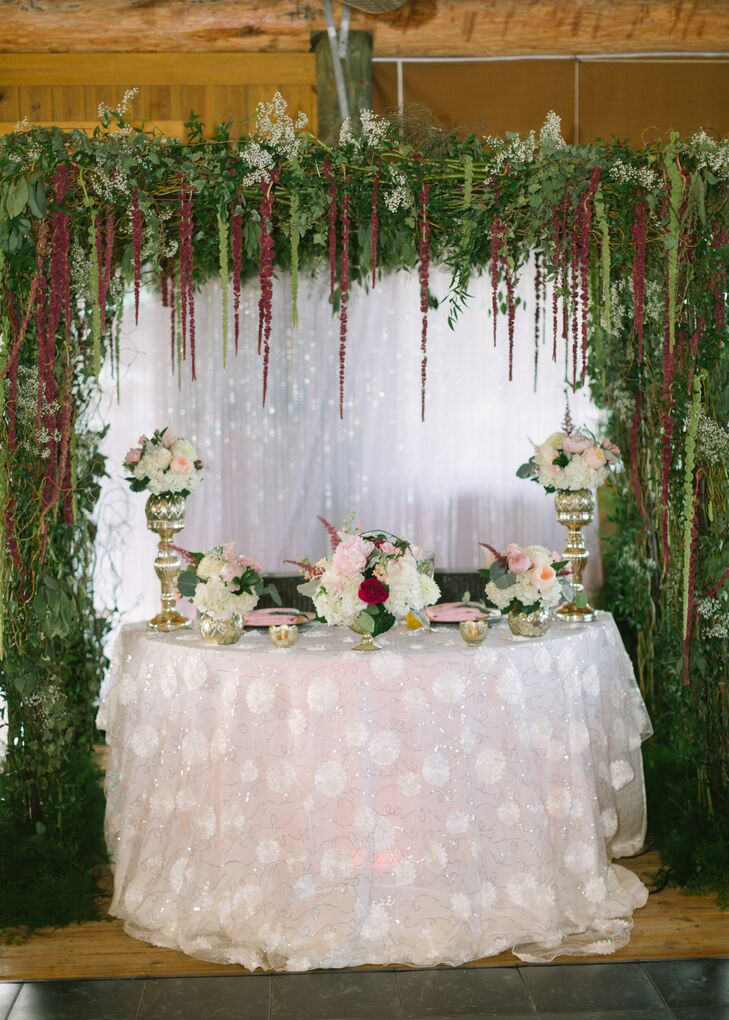 Katrina and Frank sat at their own private table covered in a sparkly pink linen beneath a lush canopy of hanging amaranth.