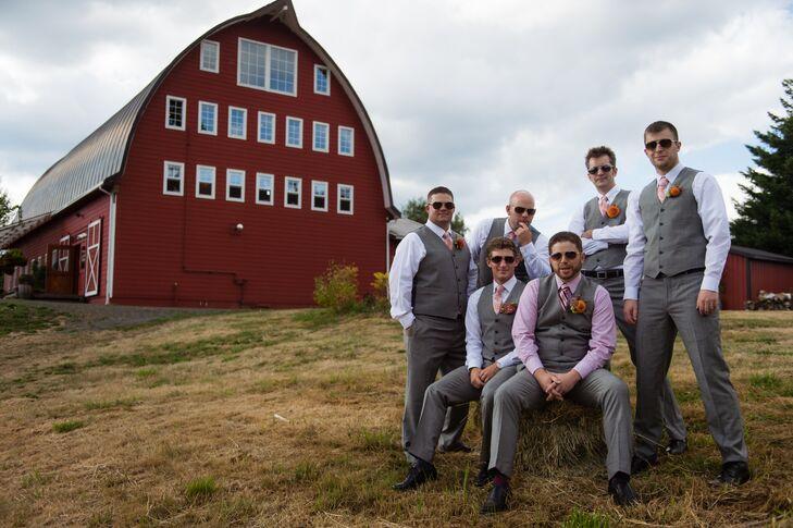Casual Groomsmen in Gray Vests