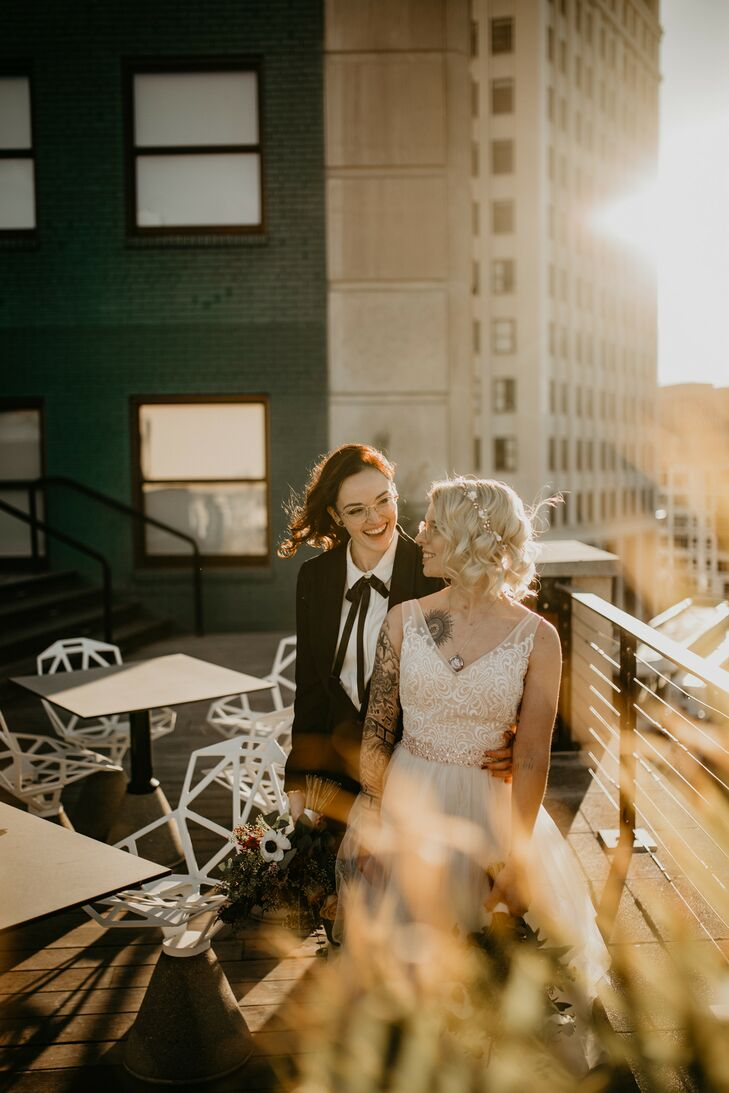 Wedding Portraits on Urban Rooftop in Detroit