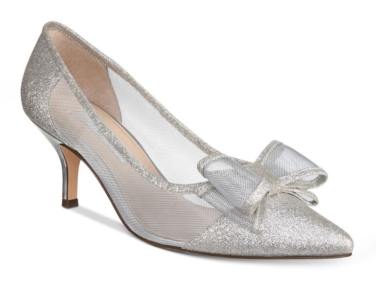 Silver bow mesh sparkly wedding heels