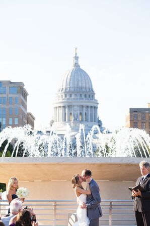 Elle and James Have Their First Kiss on the Monona Terrace