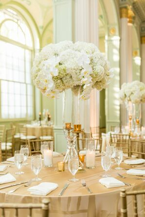 Tall Glamorous Centerpiece with Orchids and Hydrangeas