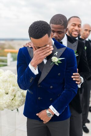 Groom Crying During Ceremony at The Faulkner in Jackson, Mississippi