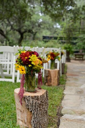 Fall Flowers on Tree Stump Aisle Decor