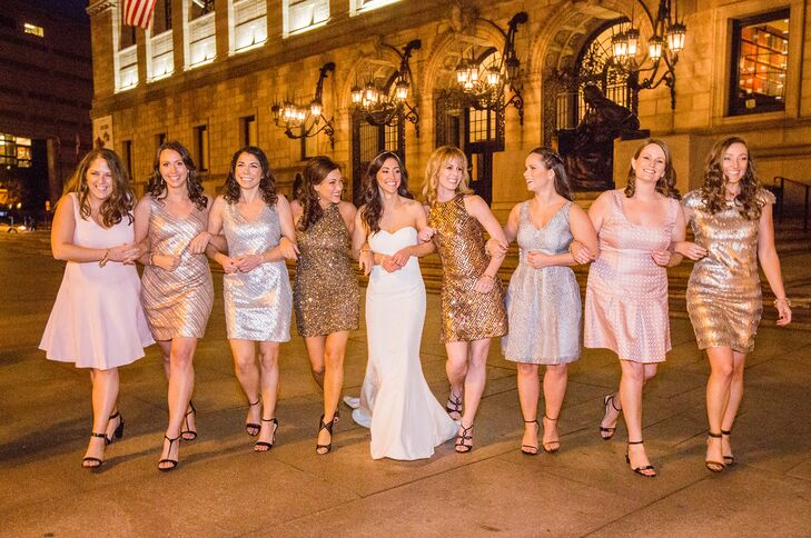 8a00d688577 Everything about Ali s bridesmaid dresses was glam and glitzy. Each  bridesmaid wore a glittery