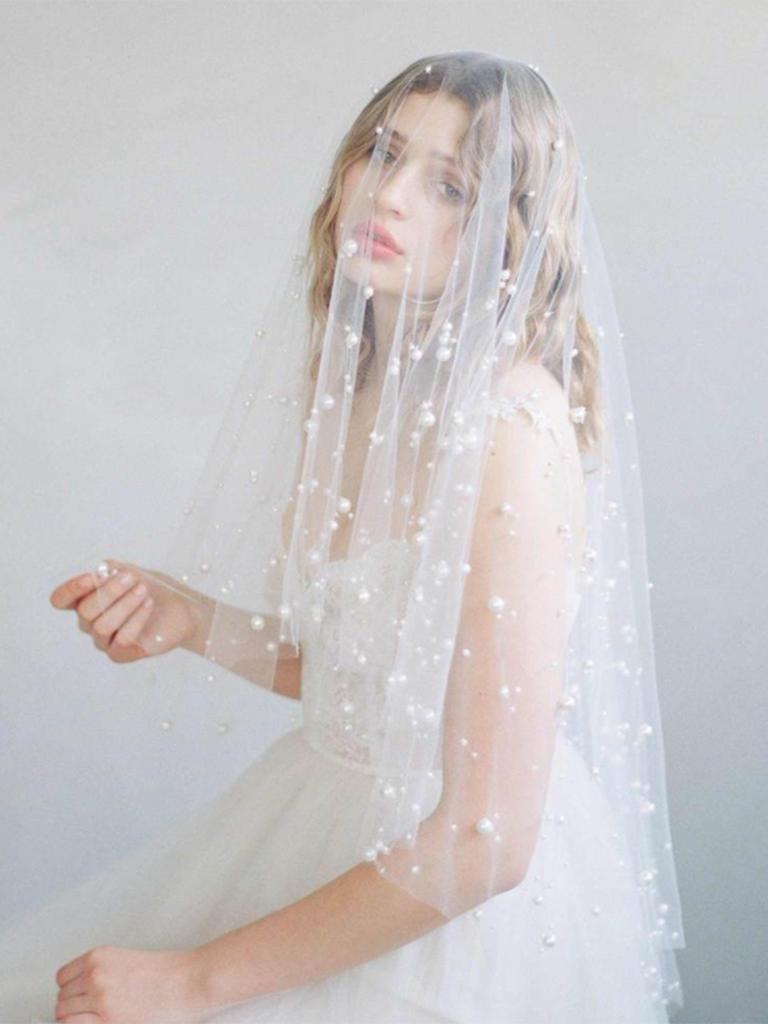 pearl embellished bridal veil