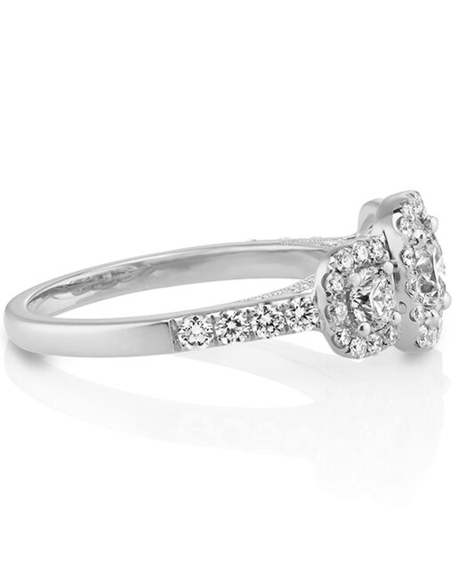 3d52101968826 Shane Co. Three-Stone Round Diamond Ring with Pavé-Setting in 14k ...