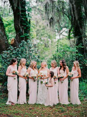 Strapless Champagne David's Bridal Bridesmaid Dresses
