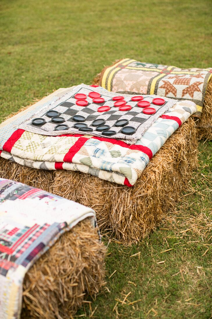 Rustic Hay Bale Seating and Games