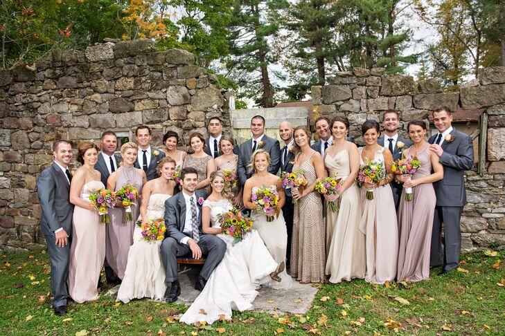 Neutral Fall Wedding Party