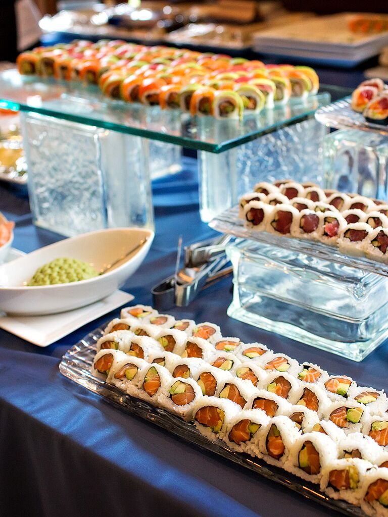 Sushi bar idea for wedding reception food