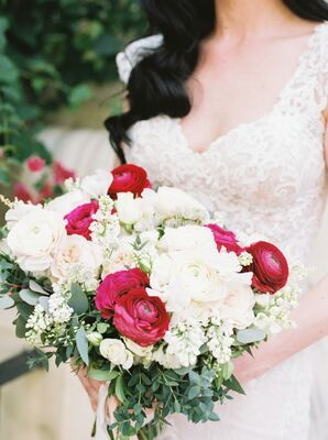 Fuchsia and Blush Ranunculus and Stock Bouquet