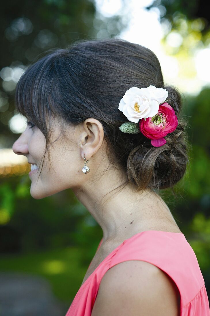 This elegant updo was accessorized with fresh flowers.