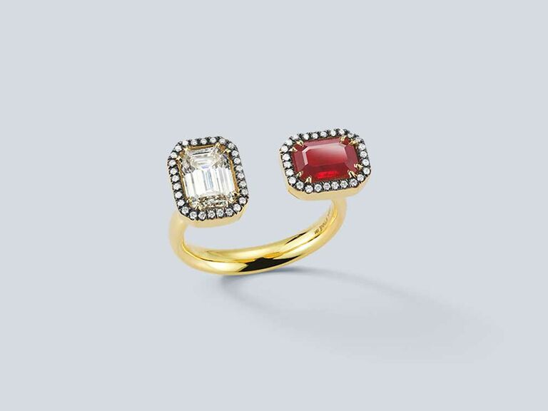 Emerald cut diamond and ruby open engagement ring