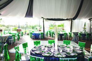Navy and Green Reception Decor