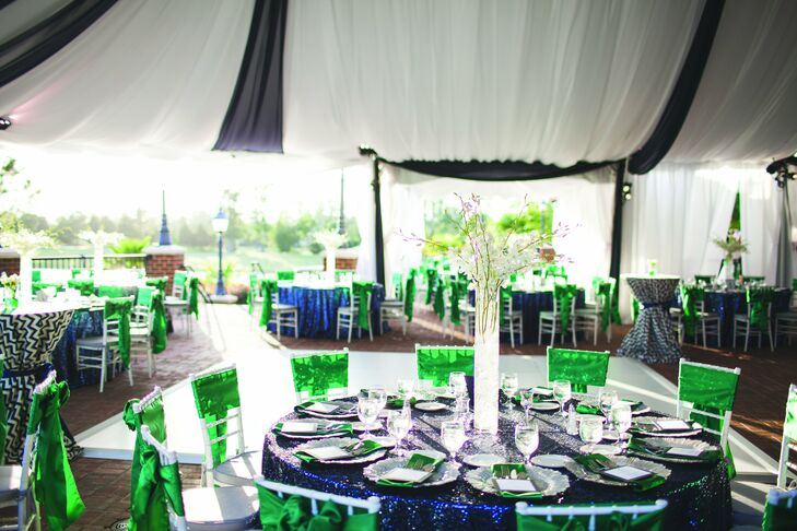 Sequined navy linens and splashes of kelly green gave the tented affair a modern touch, while tall arrangements of white orchids added height to the tables.