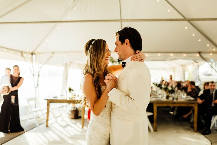 Classic Couple's First Dance at Tented Reception Groton Long Point, Connecticut