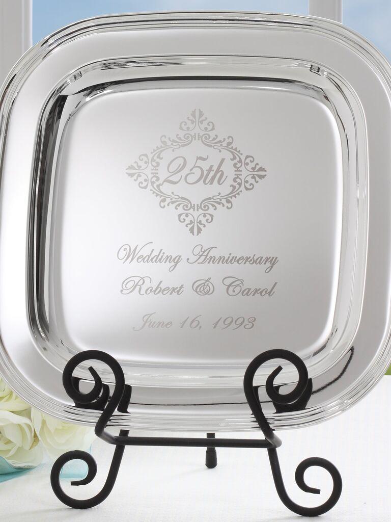 Custom silver-tone metal 25th anniversary memento tray
