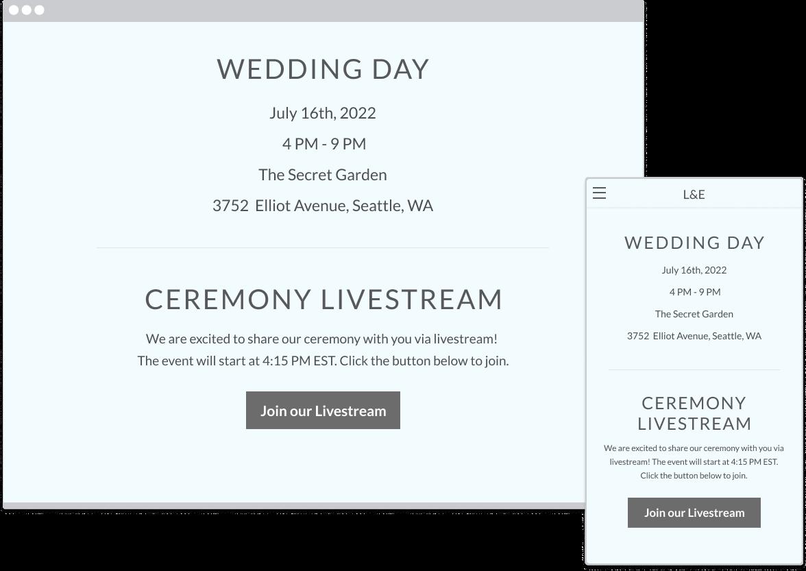 Live stream details