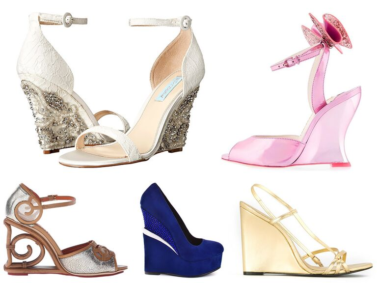Blush Ivory Blue Purple Silver Gold White Wedding Wedges