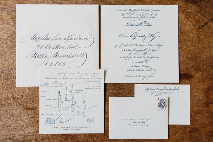 While the focus for the wedding decor was all about vibrant color, pattern and texture, Danielle and Patrick went for a timeless, classic aesthetic when it came to the invitations. Goosefish Press designed an elegant, formal suite for the couple, with cream-colored paper and letterpress navy script. A custom letterpress map was included in the suite with hand-drawn illustrations of all the weekend's events and other important information.