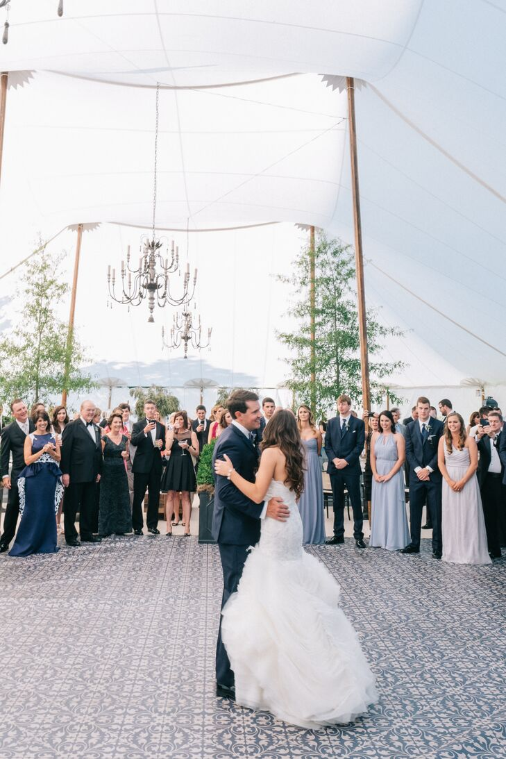 Sailcloth Tented Wedding Reception with Chandeliers