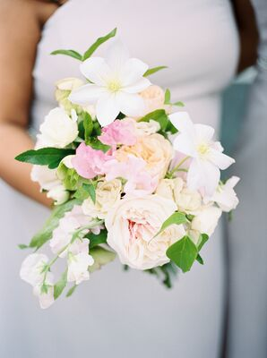 Pale Pink Garden Rose and Sweet Pea Bouquet