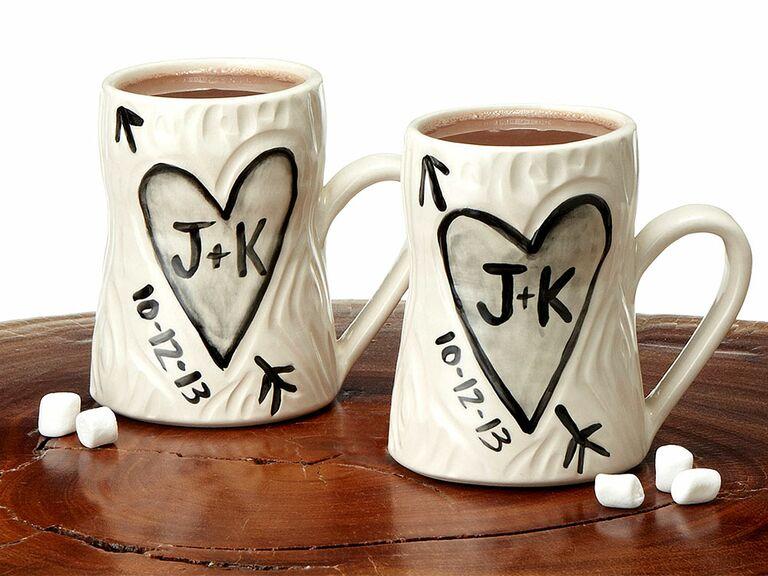 Initial mugs 10 year anniversary gift