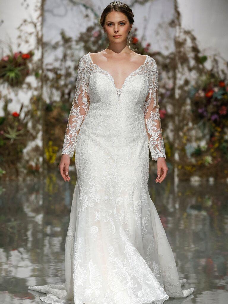 Morilee by Madeline Gardner Spring 2020 long-sleeved wedding dress with sweetheart neckline