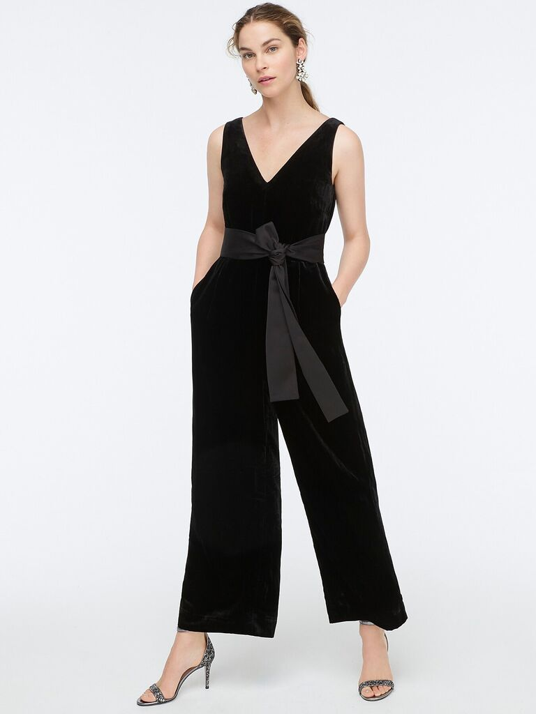 Black velvet winter wedding guest jumpsuit