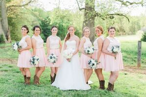 Blush Bridesmaid Dresses With Lace Overlay