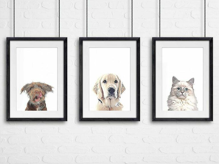 pet portrait holiday gift for newlyweds