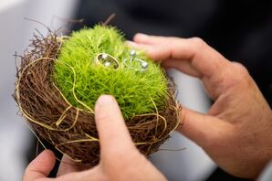 Moss-Filled Bird's Nest Ring Pillow