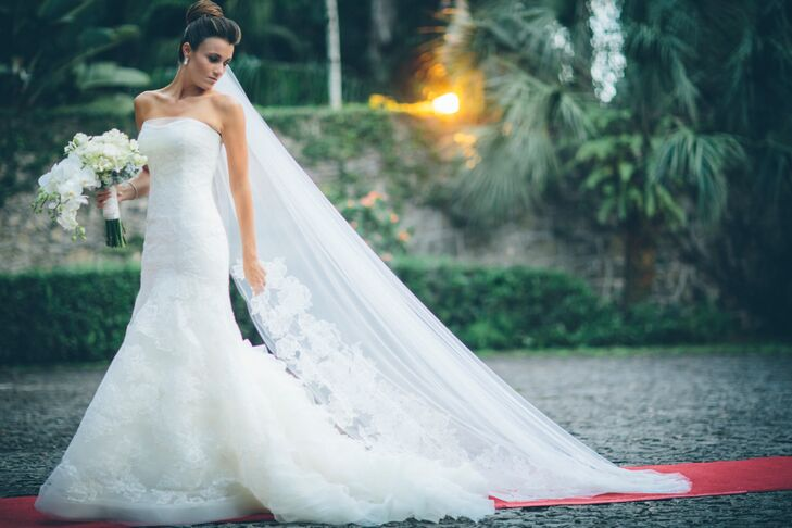 33c6f73f70 Krystina walked down the aisle in a romantic timeless trumpet wedding dress  made by Vera Wang