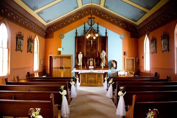 """Our wedding was at St. Mary's Catholic Church in Breckenridge,"" Michelle says. ""The quaint mountain chapel set the tone of classy elegance meets vibrant mountain playfulness."""