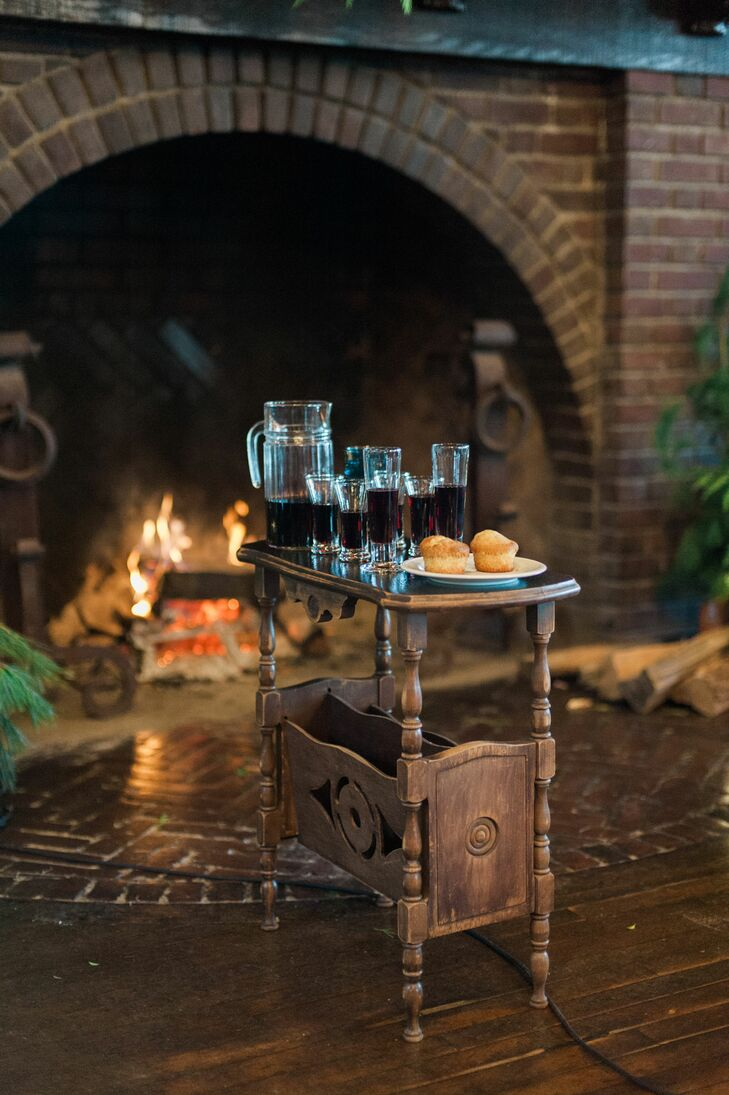 Cocktail and Muffins on Vintage Wood Table